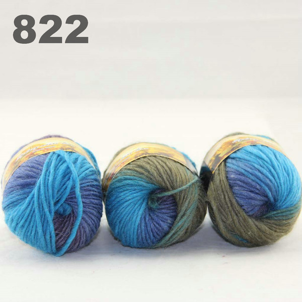 best selling colorful hand-knitted wool line segment dyed coarse lines fancy knitting hats scarves thick line Blue Royal Sand 522-822
