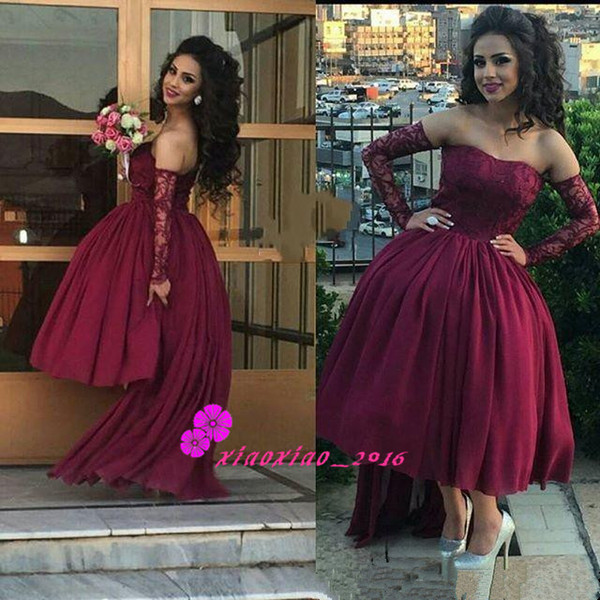 2017 Burgundy Tea Length Prom Dresses Lace Chiffon Short Homecoming ...
