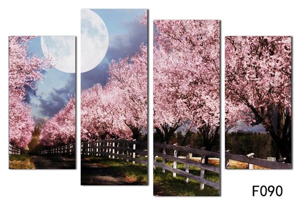 Moderne rosa schöne Blumen Leinwand Decoracion Bilder Die Kirschblüte Gemälde Wand Kunst Home Decor kein Rahmen freies Verschiffen