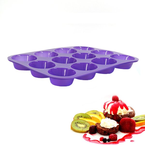 Kuke 1 Pcs Light Purple 12 Holes Silicone Round Shape Party Oven Baking Cake Mould Cookie Candy Chocolate Maker Baking Tool Tray