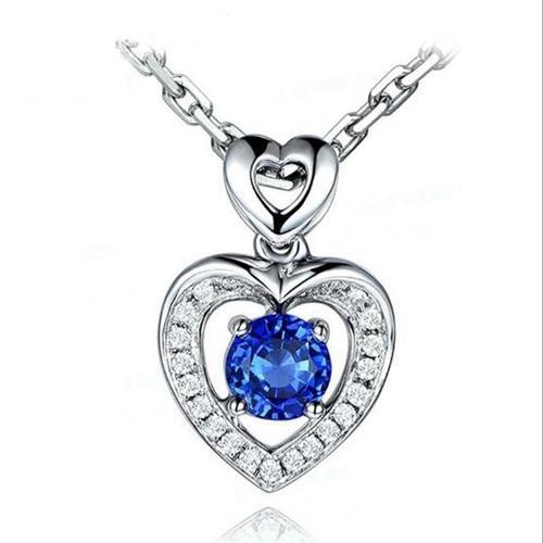 Ciondolo Sapphire Blue Love Heart Ciondolo a forma di cuore in argento sterling 925 come regalo per amato, 17.71 pollici