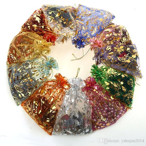 Hot sale Multi-Color Organza Jewelry Bags Luxury Wedding Voile Gift Bag Drawstring Jewelry Packaging Christmas Gift Pouch 11*16cm