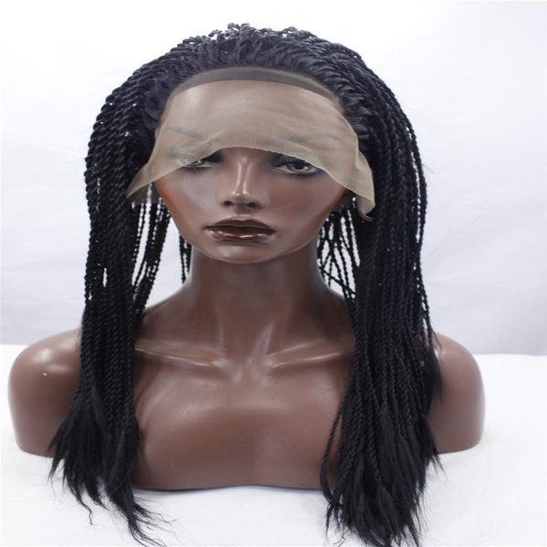 lace front wigs Africa american braided lace wig heat resistant synthetic frontal hair long micro braided wigs for black women Black hair
