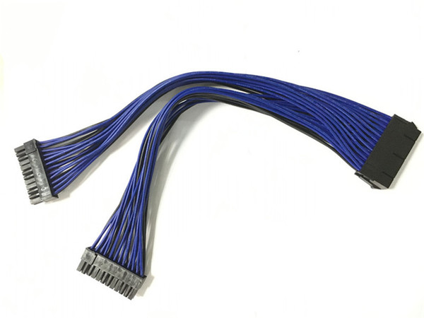 ATX 30 cm 24 Pin Çift PSU Güç Kaynağı Uzatma Kablosu Senkron Kordon Bilgisayar Kablo Konektörü için Madencilik için 24Pin 20 + 4pin