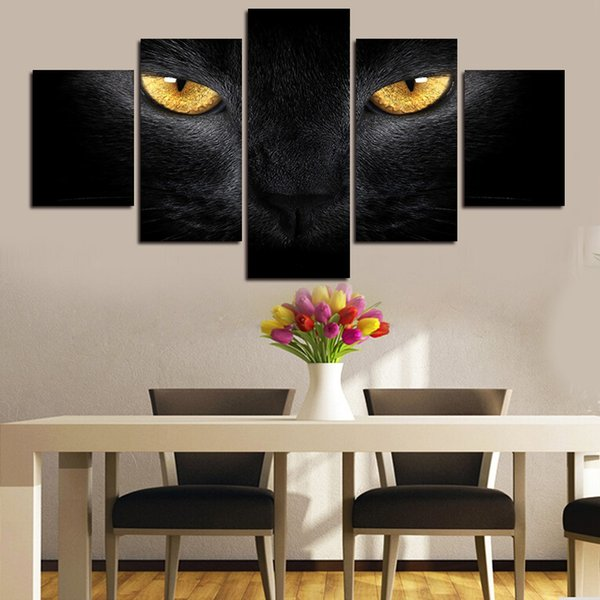 2016 New 5 Panels Black cat Print painting Canvas Painting Modern art Print Wall Art Gift Top for Home Decoration free shipping