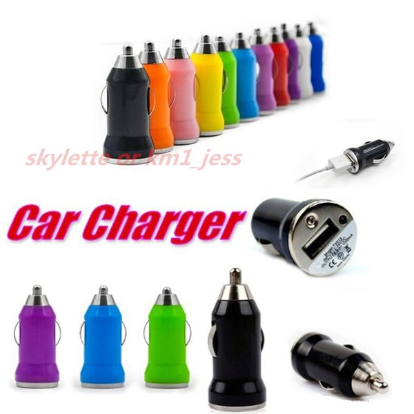 Colorful Car Chargers Bullet Mini USB Iphone USB Adapter Cigarette Lighter For Iphone 7 Plus For Samsung S7 S6 Ipad Pro EGO Car Charger