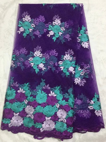 5 Yds/pc Hot sale purple African mesh lace with three colors flower embroidery french lace fabric for wedding clothing DN8-2
