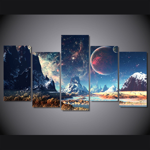 5 Pcs/Set HD Printed Wushan planet snow lake Painting on canvas room decoration print poster picture canvas wall art