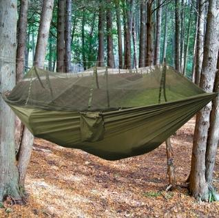 best selling New Four Color Outdoor Portable High Strength Parachute Fabric Camping Hammock Hanging Bed With Mosquito Net