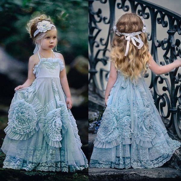 Vestidos de boda de la muchacha del flor de la vendimia Vestidos de la fiesta de cumpleaños de los cabritos de la princesa del halter Diseño hecho a mano 3D hecho a mano de las flores Vestido del desfile de las muchachas