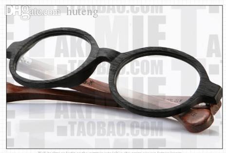HOT SALE-vintage big circle frames designer Eyeglasses Sagawa Fujii handmade wooden nerd fashion glasses 7220D eyewear Free shipping