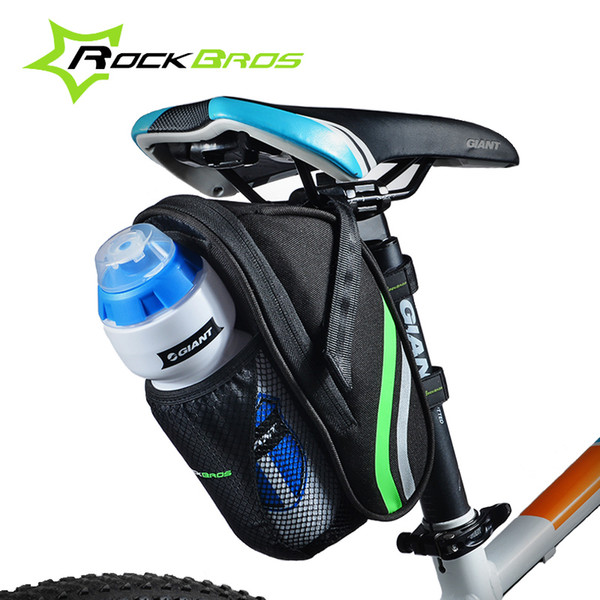 2017 Hot RockBros Borsa da bicicletta Quick Install MTB Mountain Road Bike Borsa bottiglia d'acqua sacchetto design ciclismo sedile posteriore Saddle Bag