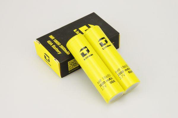 2PCS Authentic Listman 18650 battery 3.7V 2600mah 60A yellow rechargeable li-lon batteries Flashlight Electronic cigarette power battery