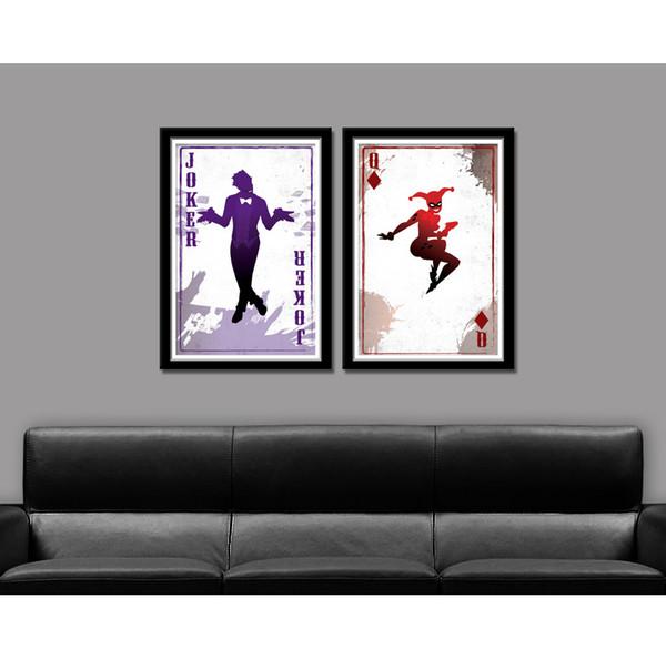 Der Joker Harley Quinn, 2 Stück Home Decor HD gedruckt moderne Kunst Malerei auf Leinwand (ungerahmt / gerahmt)