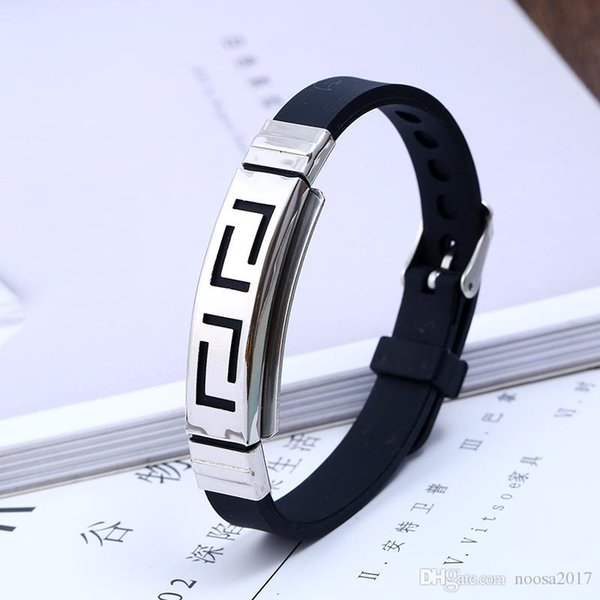 Moda Kimlik Bilezikler 18g bilezik paslanmaz çelik + silikon + el toka erkek silikon bilezik 22.5 * 1 cm boyutu