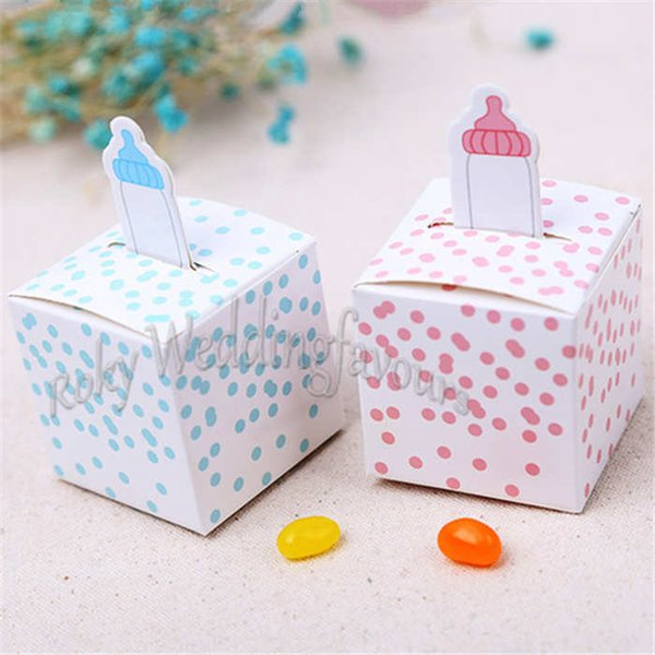 """Free Shipping! 50PCS 2.5"""" Pink/Blue Baby Bottle Favor Boxes Baby Shower Party Supplies Birthday Party Candy Box Decor Setting Ideas"""