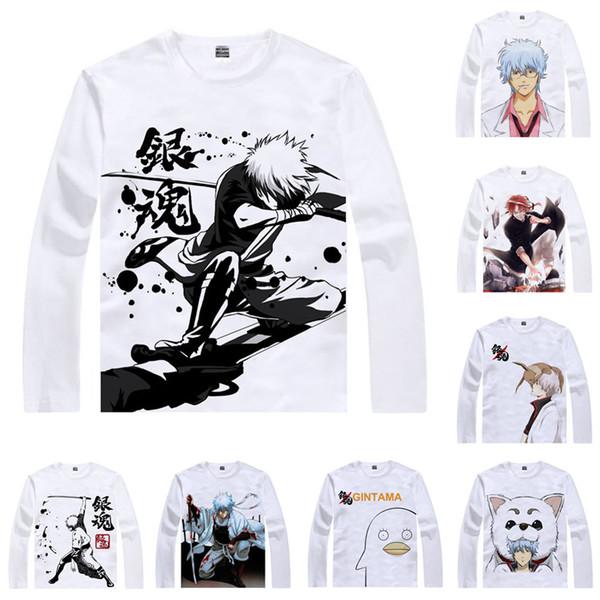 Anime Shirt GINTAMA Gin Tama Silver Soul T-Shirts Multi-style Long Sleeve Gintoki Sakata Sadaharu Cosplay Motivs Kawaii Shirts