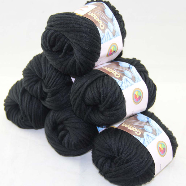 top popular LOT of 6 BallsX50g Special Thick Worsted 100% Cotton Knitting Yarn Black 2215 2021