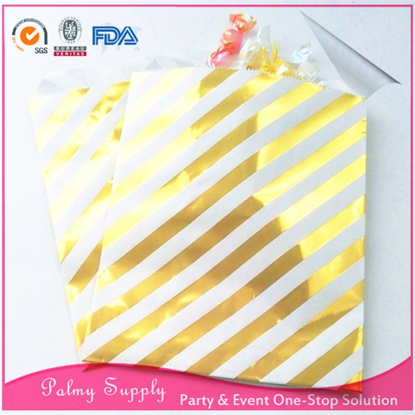 Free shipping!!! Wedding party favor 200pcs/lot treat bags foil gold paper candy bags for baby shower/birthday party/Xmas