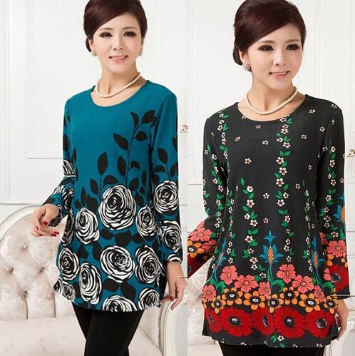 Großhandel- 20 FARBEN! XL, XXL, 3XL, 4XL, 5XL 2016 Plus Size Pullover Frauen Winter Blumendruck Pullover Strickwaren Frau Tunika Poncho Vestidos