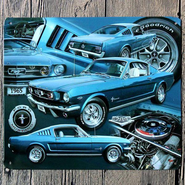 Atacado- 18 * 21C 1965 1965 carro azul Metal Poster Ford Mustang estanho sinal Wall Decor Vintage presente Bar Club Pub ferro estanho Metal pintura placa