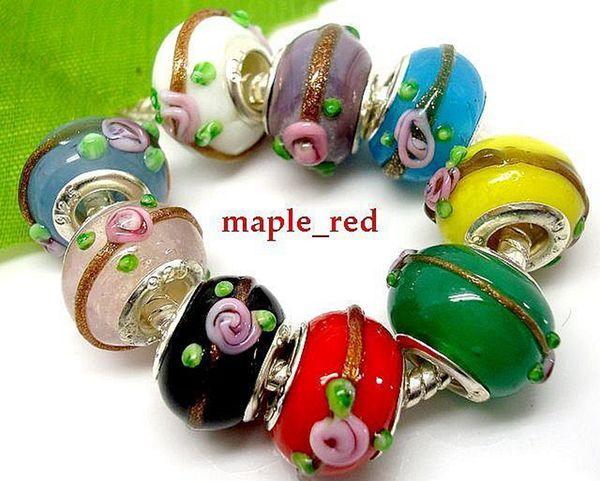50 pcs Mixed Beautiful color Flower Design Lampwork Glass Beads Fit European Bracelets Wholesale in Bulk Low Price