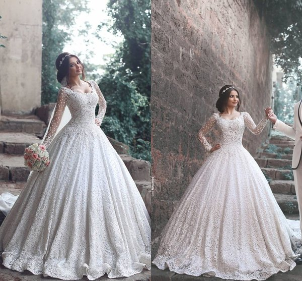 Luxury 2017 New Designer A Line Lace Wedding Dresses Long Sleeves Scoop Wedding Gowns For Women Free Shipping