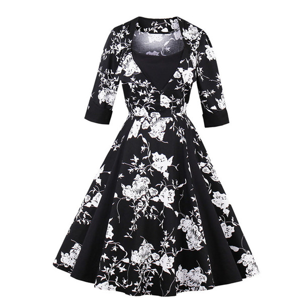 f0956e6f610a5 Women'S Vintage 1950s Rockabilly Audrey Hepburn Autumn Fall Dress Pin Up  Slim Big Plus Size Retro Cocktail Party Bridesmaid Swing Dresses Dress  Summer ...