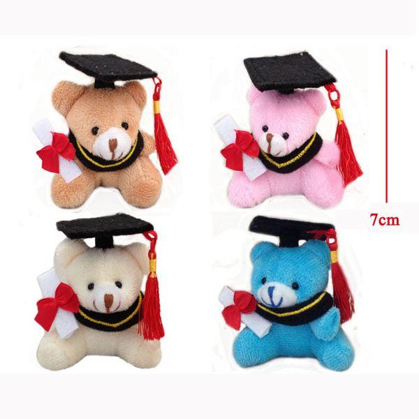 H=7cm Urso De Formatura Teddy Bear Graduation Bear Plush Joint Doctor Bear Pendants Craft Doll Student Stripes,4color To Choose