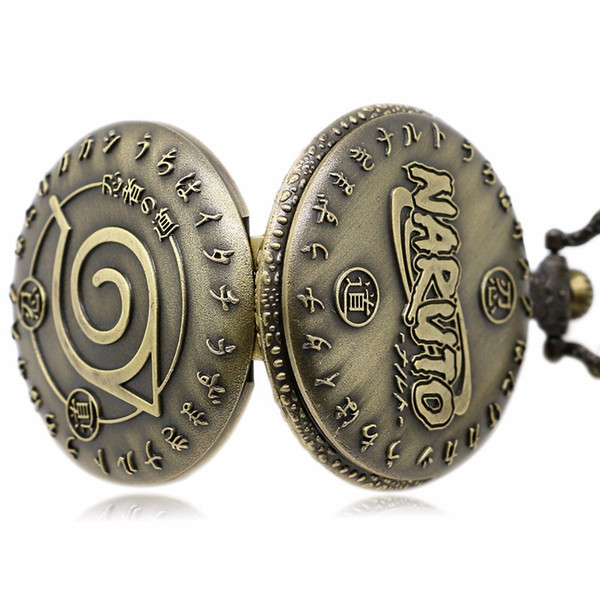 Al por mayor-Reloj de bolsillo de cuarzo Japón Cartoon Naruto Bronce Fob Relojes Colgante Hombres Mujeres Casual Pednant