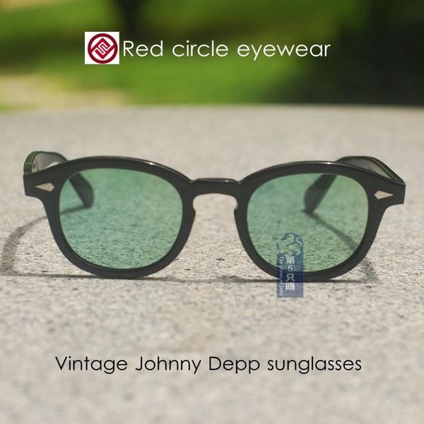 Retro Vintage Johnny Depp sunglasses black frame pale green lenses mens glass