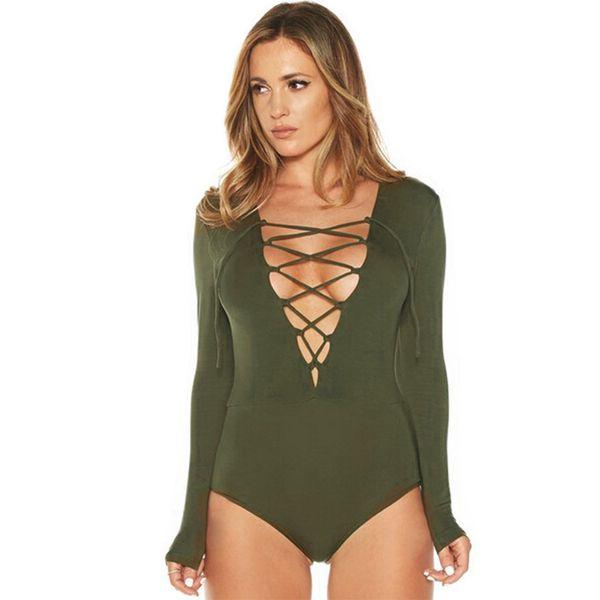 New Sexy Women Bodysuit Plunge V Neckline Lace Up Tie Front Stretch Playsuit Leotard Jumpsuit Overalls Enteritos Mujer Club Wear