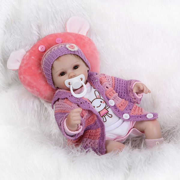 Collection 17 inch sleeping reborn baby doll lifelike soft silicone newborn girl kids birthday Christmas gifts free pacifier