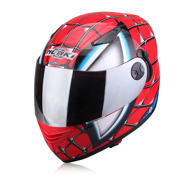 brand Spiderman Protective Gears child star Mary IronMan capacete casco moto full face helmets dual lens motorcycle helmet