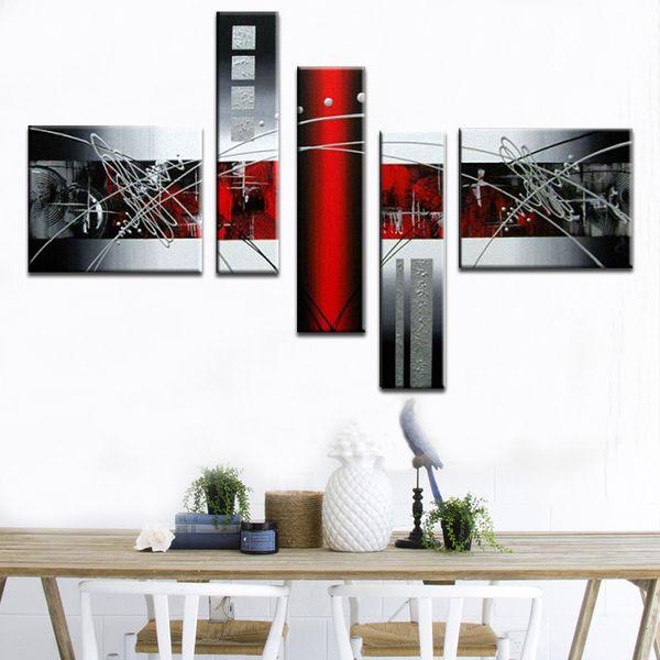 Acheter Peinture À L\'huile Abstraite Toile Noir Blanc Gris Moderne À La  Main Maison Wall Art Décor Pour Bureau Décoration No Frame De $30.14 Du ...