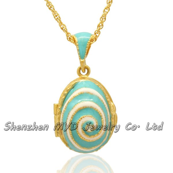 Woman fashion jewelry swirl design Faberge egg pendant locket necklace handmade color enameled for Mothers Day