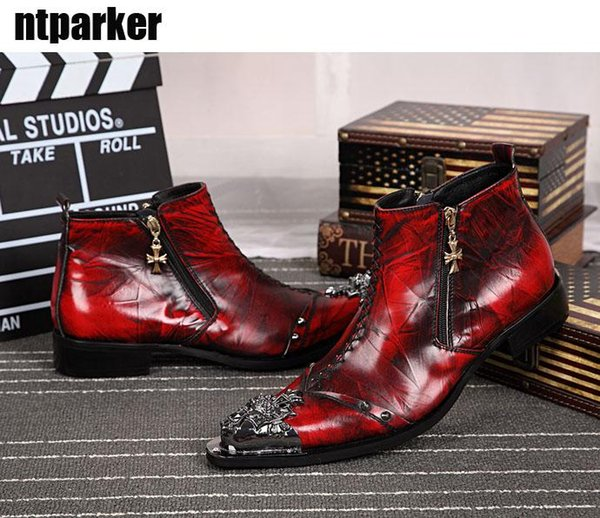 Western Motocycle Boots Men Fashion Red Dress Leather Boots Zip Pointed Iron Toe Red Leather Ankle Boots for Man, Big Size 46!
