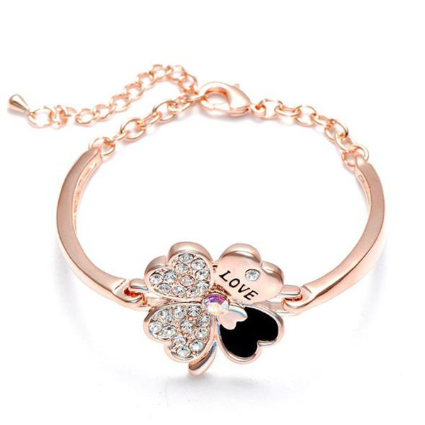 Crystal Four Leaf Clover Bracelets bangle Cuff Letter Love Charm Diamond Inspirational Jewelry for Women Girls Lucky Gift free Shipping
