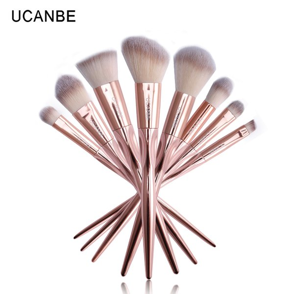 Brand 8pcs Grasp Handle Rose Gold Metallic Makeup Brushes Kit Set For Eyeshadow Contour Top Soft Fiber Hair Make Up Brush