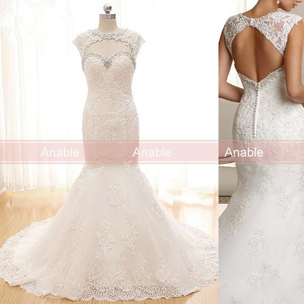 2017 Vintage Lace Country Wedding Dress Jewel Cap Sleeves Keyhole ...
