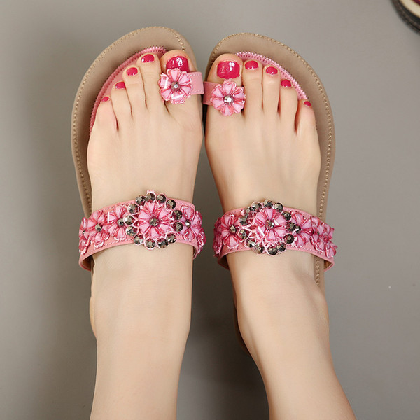 2017 Plus Size 40 41 Elegant Pink Beige Flower Crystal Rhinestone Thong Sandals Flat Shoes Women Beach Sandals