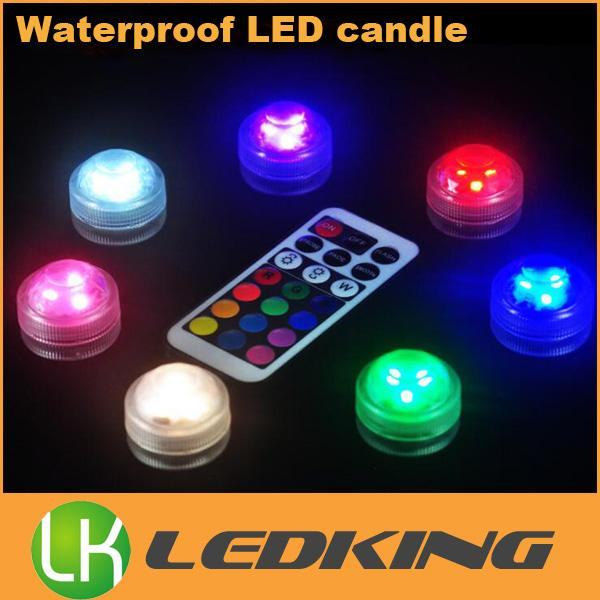 RGB 3 LED candle lights wireless waterproof submersible led light 10PCS/Lot With a remote control 13 colors change for fish tank