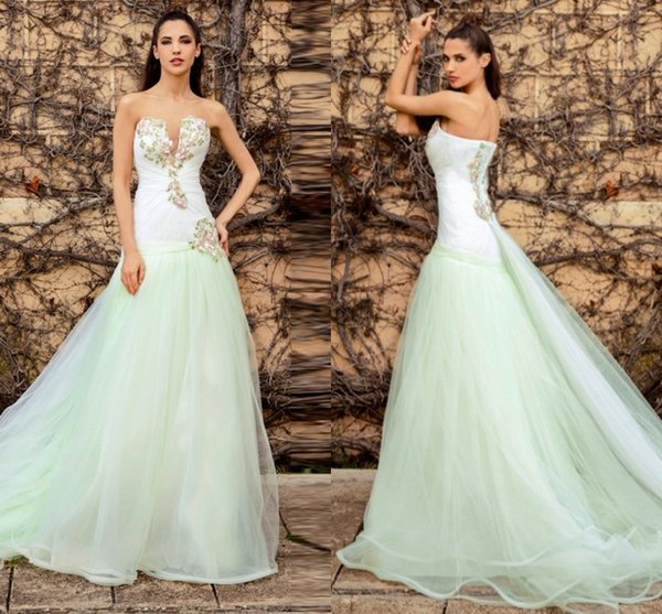 White And Mint Green Strapless Prom Dresses 2016 Colored Lace Applique Backless Evening Gowns Sweep Train Formal Party Dresses Cheap