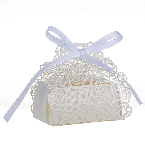 10pcs/lots Rose Flower Laser Cut Wedding Box Wedding Favors And Gift Baby Shower Candy Box Party Supplies Wedding Decoration
