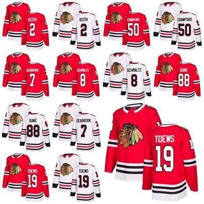 2018 Neue Marke Männer Chicago Blackhawks 19 Jonathan Toews 88 Patrick Kane 2 Duncan Keith 8 Nick Schmaltz Brent Seabrook Crawford Eishockeytrikot
