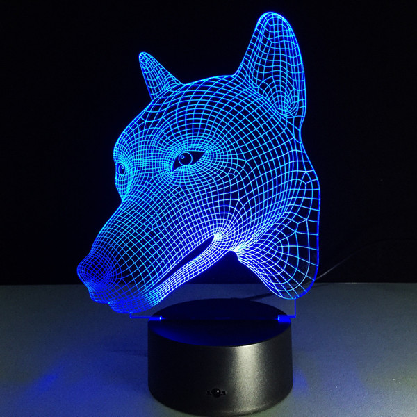 2018 Dog Head 3D Optical Illusion Lamp Night Light DC 5V USB Charging AA Battery Wholesale Dropshipping Free Shipping