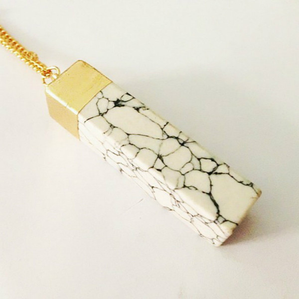 Natural Stone Pendants Multicolor Natural Crystal Necklaces Rectangle Natural Stone Pendant Necklaces Fashion Jewelry 5 Colors