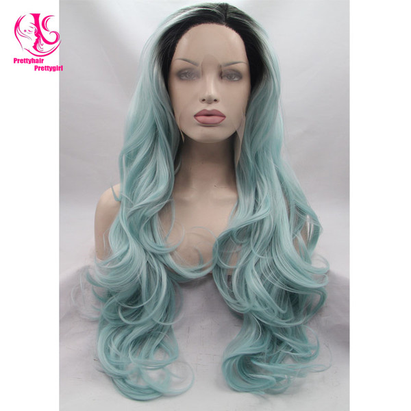 Top Quality Boday Wave Wigs Synthetic Lace Front Wigs 180% Density Ombre Black Blue Color Heat Resistant Ombre Wigs