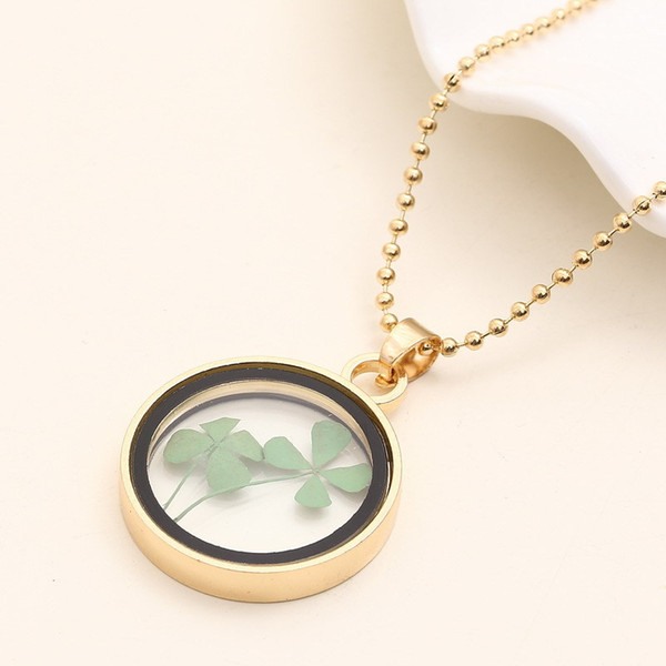 lucky round circle pendant necklace clover inside gold chain necklace gift for girlfriend