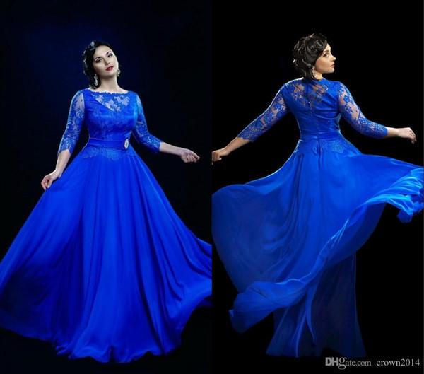 Madre de la novia de 2019 Vestido de gasa de ilusión Vestidos de baile largos Azul real 3/4 Mangas Tallas grandes Vestidos de noche formales Por encargo